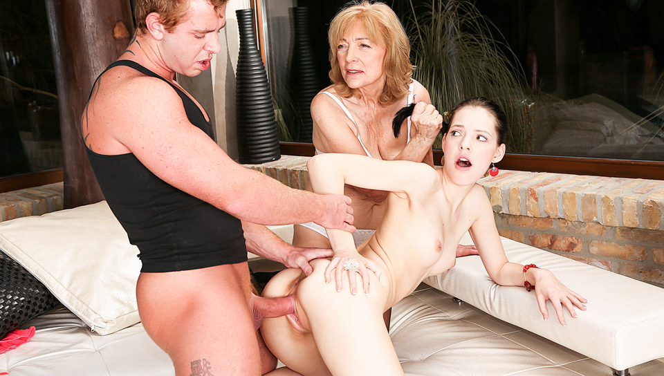 Age Play 3-Way: Young Anie & 69YO Slut