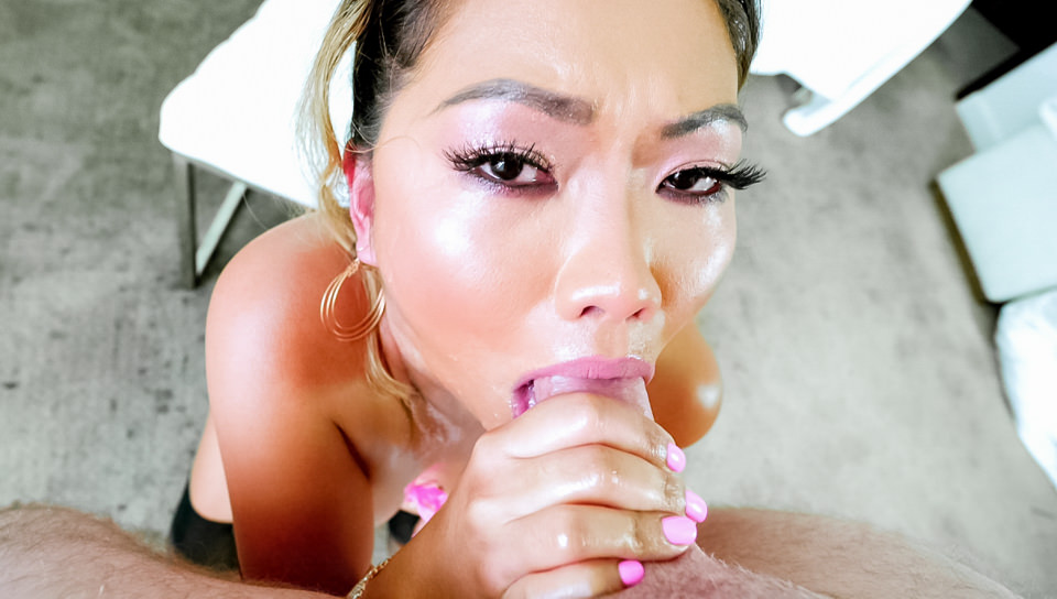 Busty Asian MILF Lana's Deepthroat BJ
